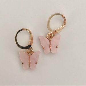 Light Pink Acrylic Butterfly Huggies / Earrings